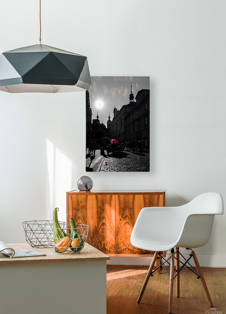 Le parapluie rouge  HD Metal print with Floating Frame on Back