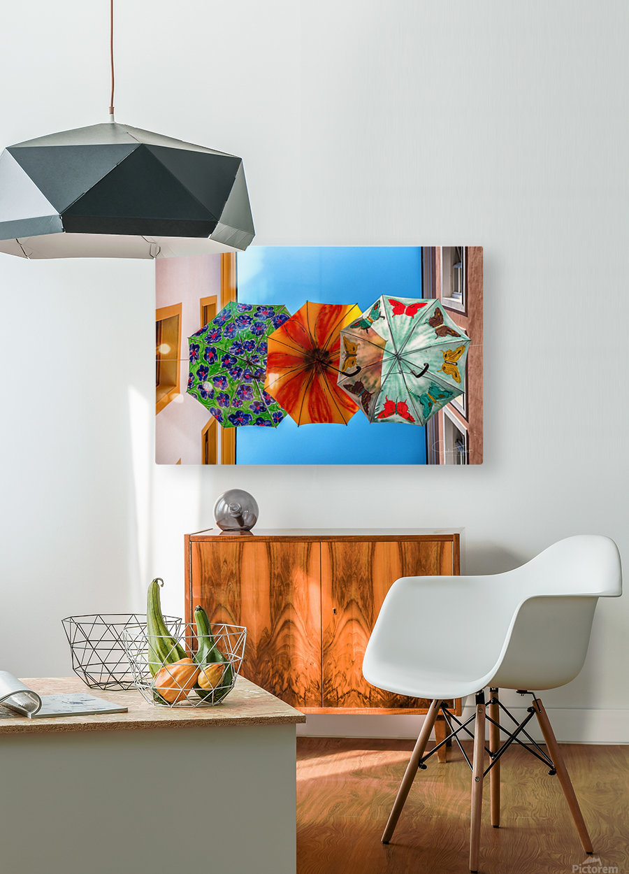 La ruelle des parapluies  HD Metal print with Floating Frame on Back