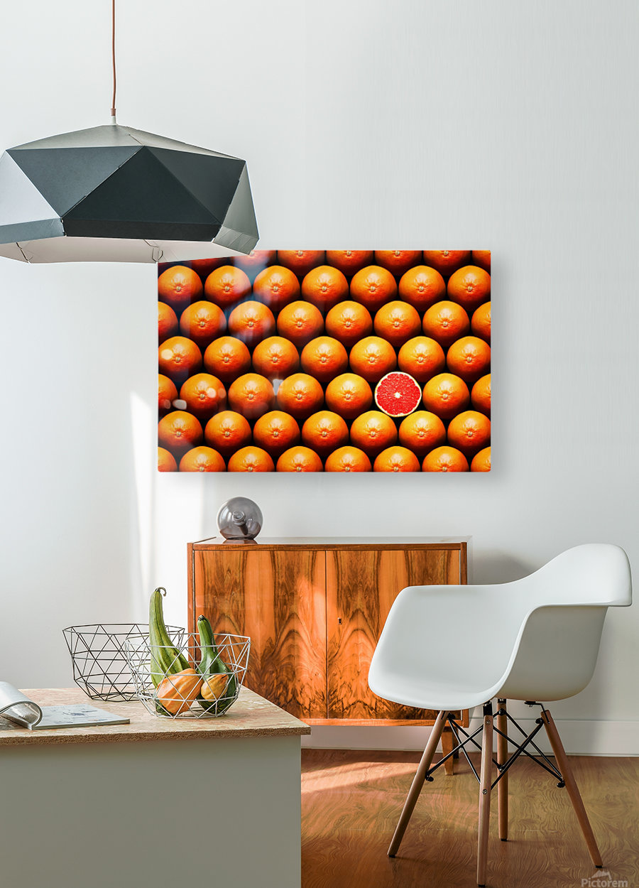 Grapefruit slice between group  HD Metal print with Floating Frame on Back