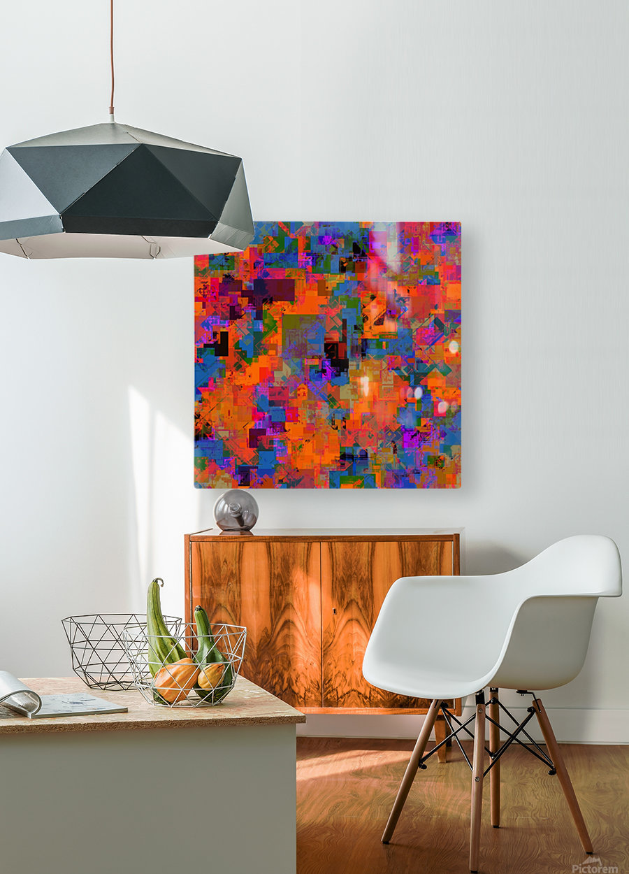 psychedelic geometric square pattern abstract background in orange blue red  HD Metal print with Floating Frame on Back