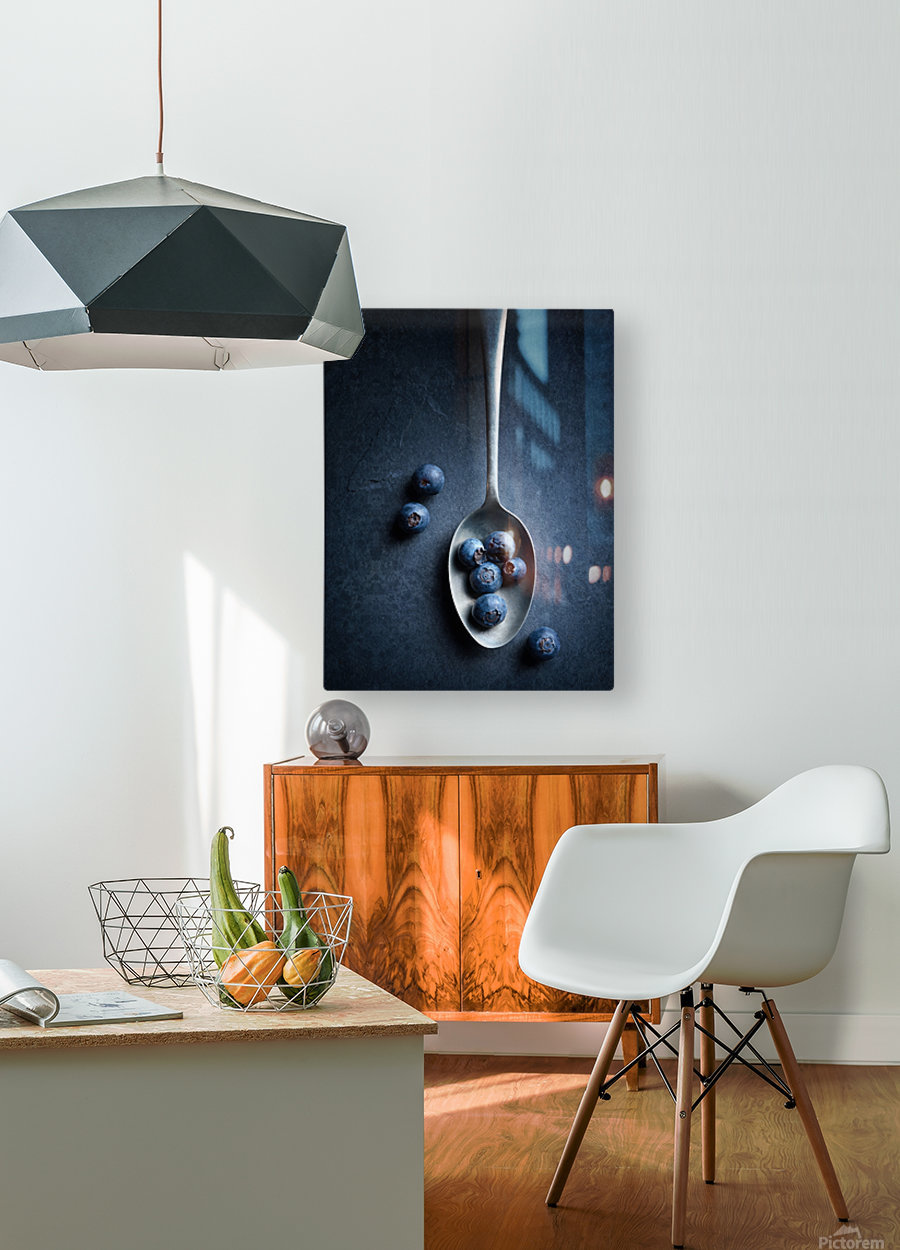 Blueberries on spoon Still Life  HD Metal print with Floating Frame on Back