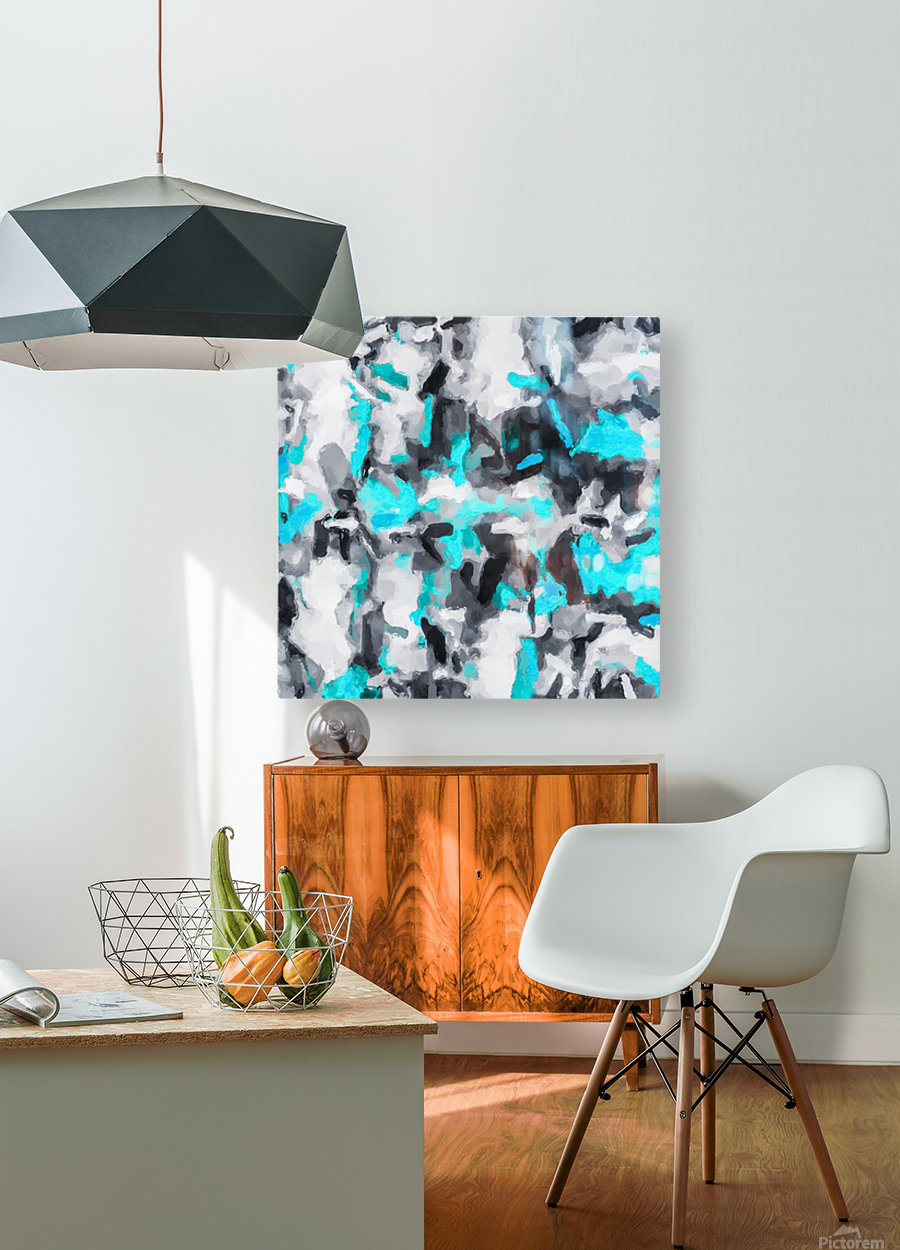 splash painting texture abstract background in blue and black  HD Metal print with Floating Frame on Back