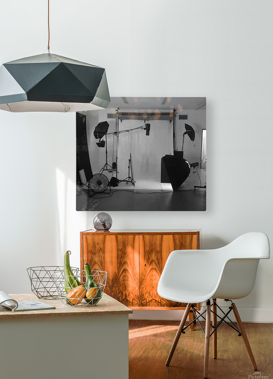 Black and White Studio  HD Metal print with Floating Frame on Back