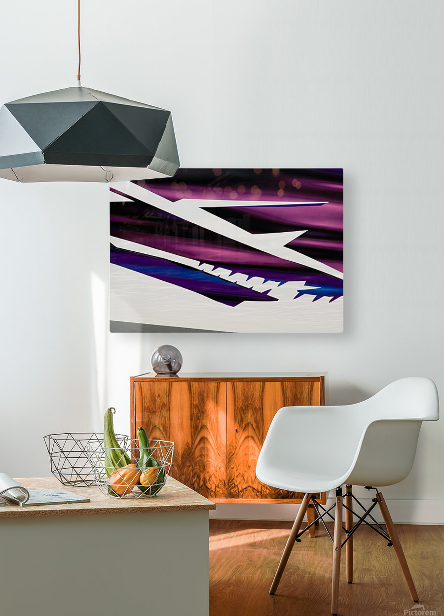 Purple  HD Metal print with Floating Frame on Back