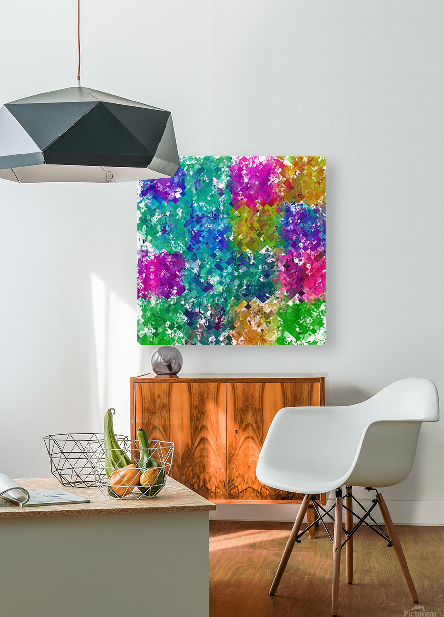 psychedelic geometric square pixel pattern abstract background in blue green yellow pink purple  HD Metal print with Floating Frame on Back