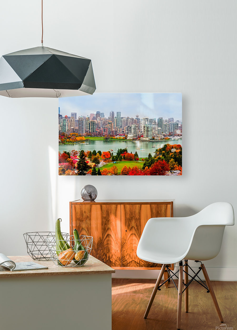 colorful autumn landscape of a modern city by the river  HD Metal print with Floating Frame on Back