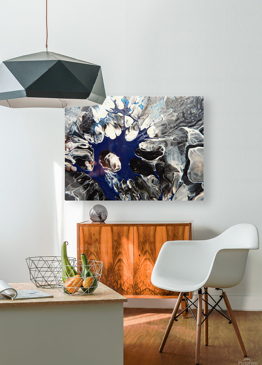 BLACK AND BLUE  HD Metal print with Floating Frame on Back