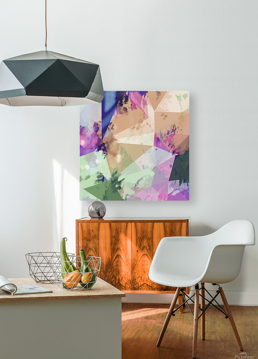psychedelic geometric triangle polygon pattern abstract in pink green brown blue  HD Metal print with Floating Frame on Back