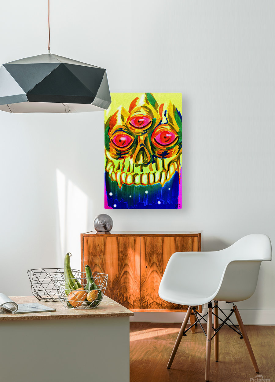 Three eyed skull painting  HD Metal print with Floating Frame on Back