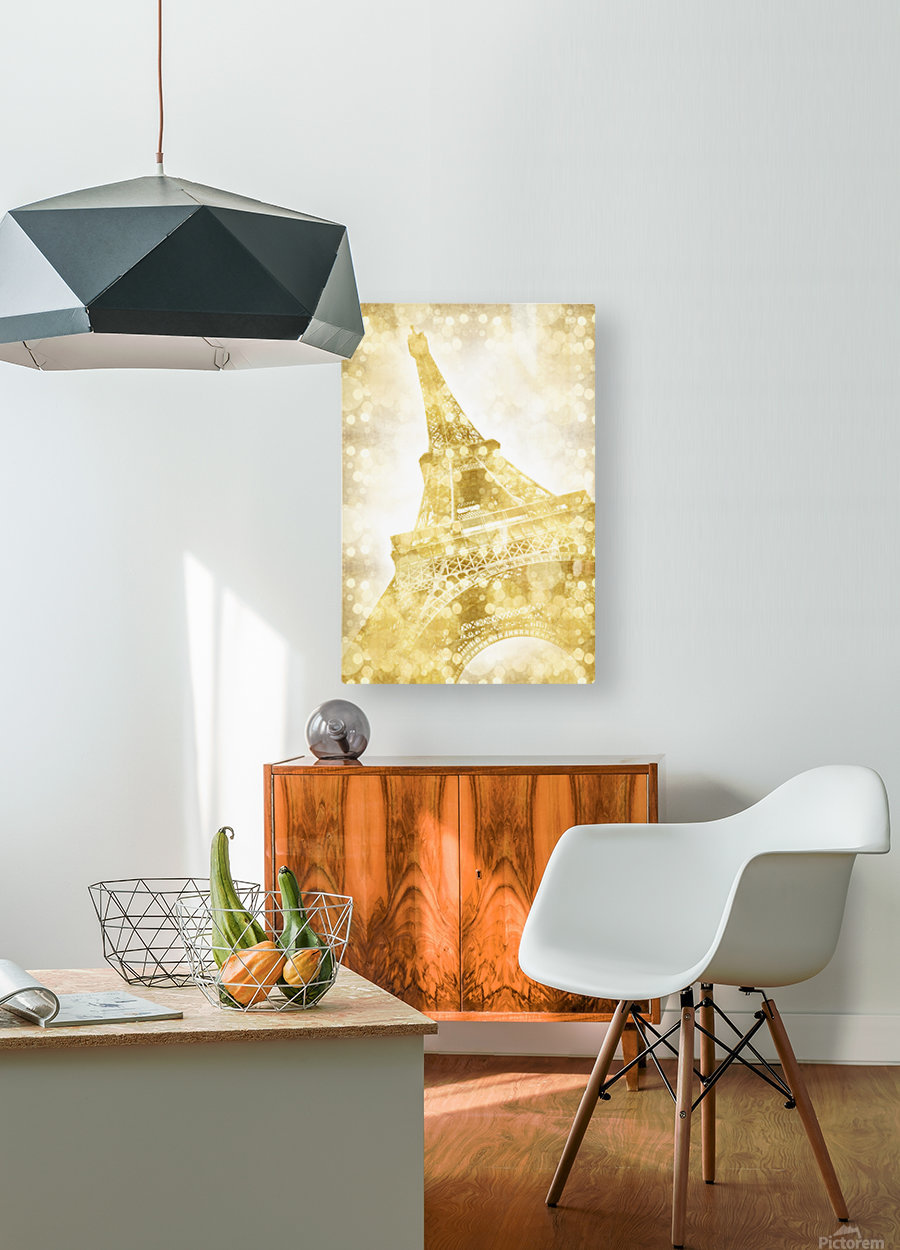 EIFFEL TOWER | golden illusion  HD Metal print with Floating Frame on Back