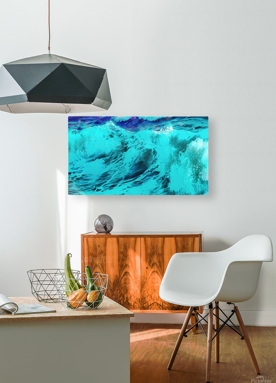 Abstract Wave VII  HD Metal print with Floating Frame on Back