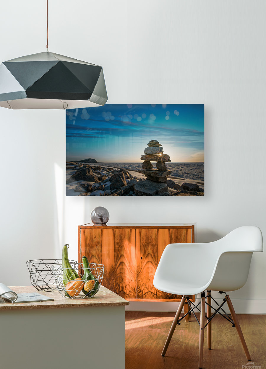 Inukshuk at la Bloc  HD Metal print with Floating Frame on Back
