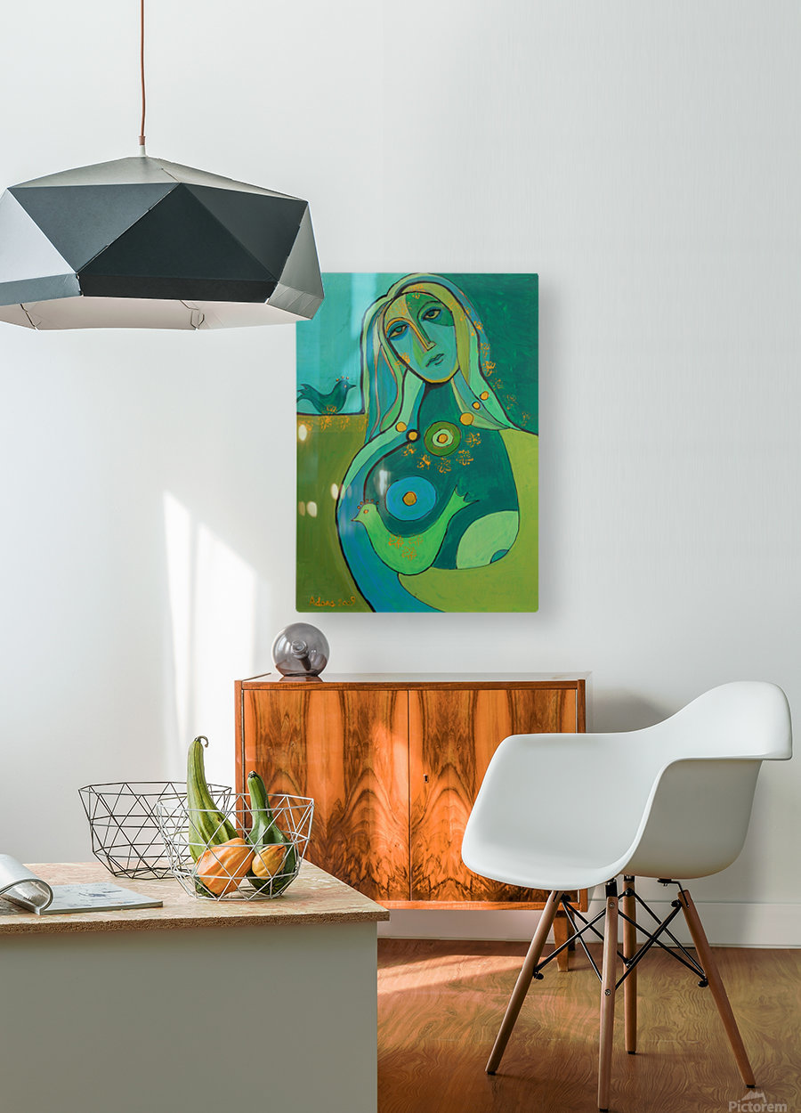 green  HD Metal print with Floating Frame on Back