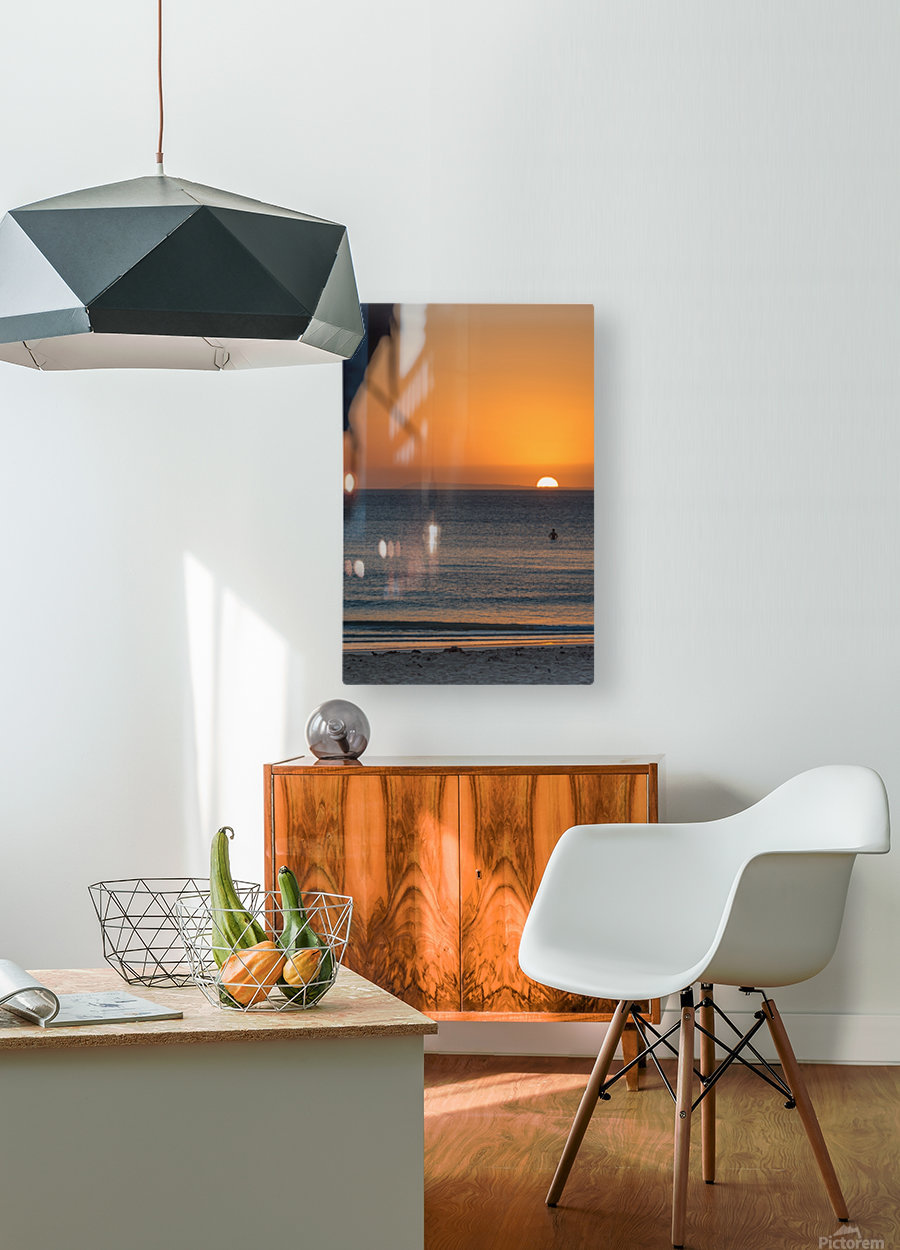 Taking a moment to watch the sunrise  HD Metal print with Floating Frame on Back