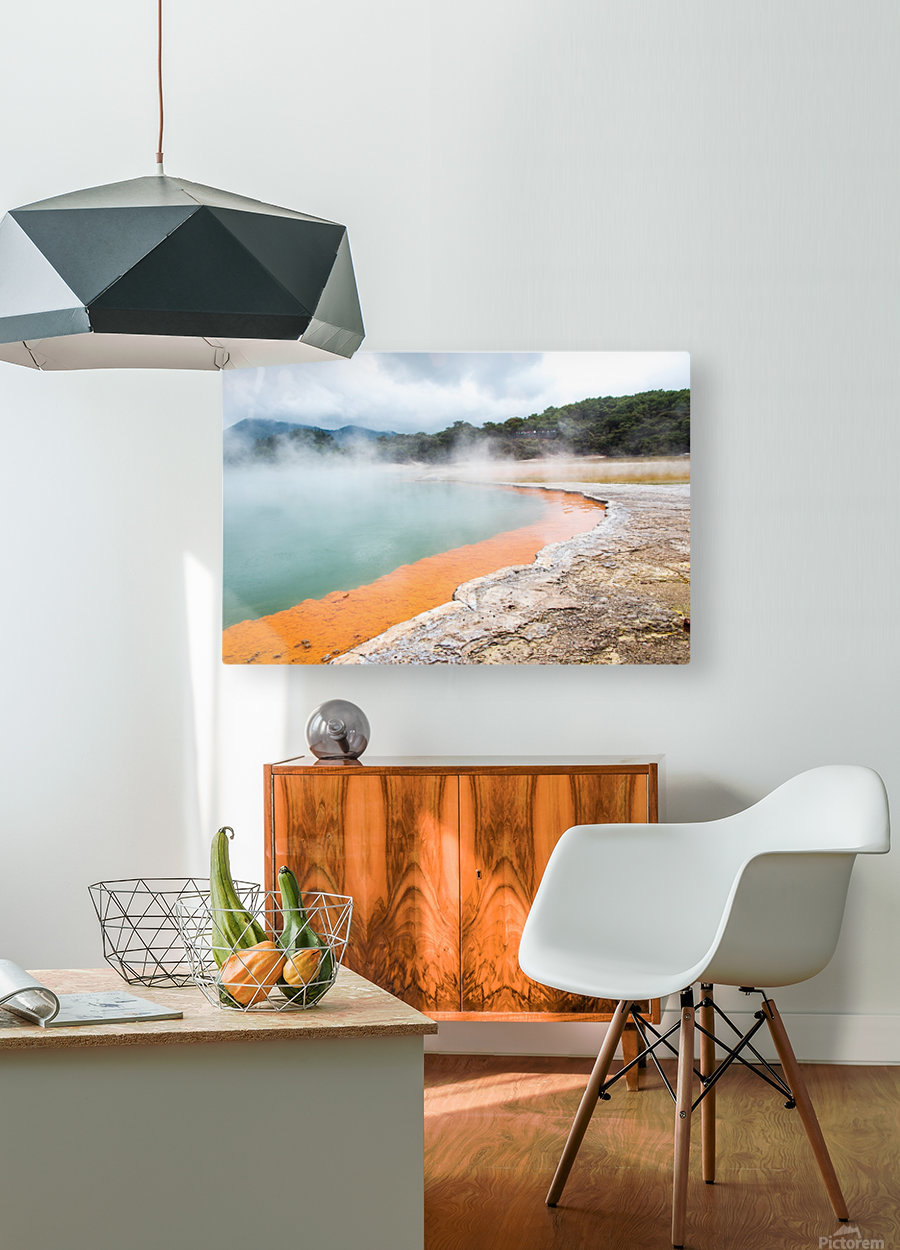 Rotorua Hot pool with steam New Zealand  HD Metal print with Floating Frame on Back