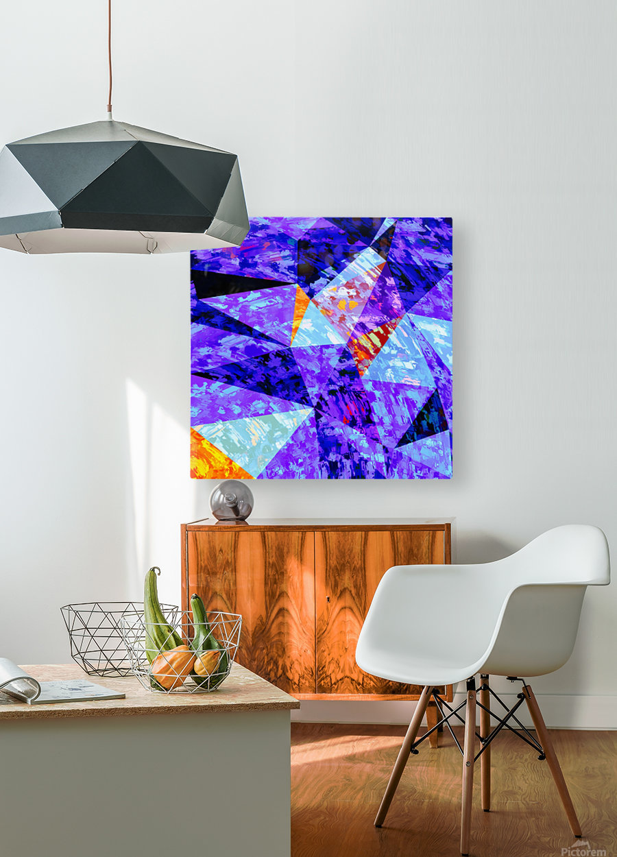 vintage psychedelic geometric triangle polygon pattern abstract in purple blue orange  HD Metal print with Floating Frame on Back