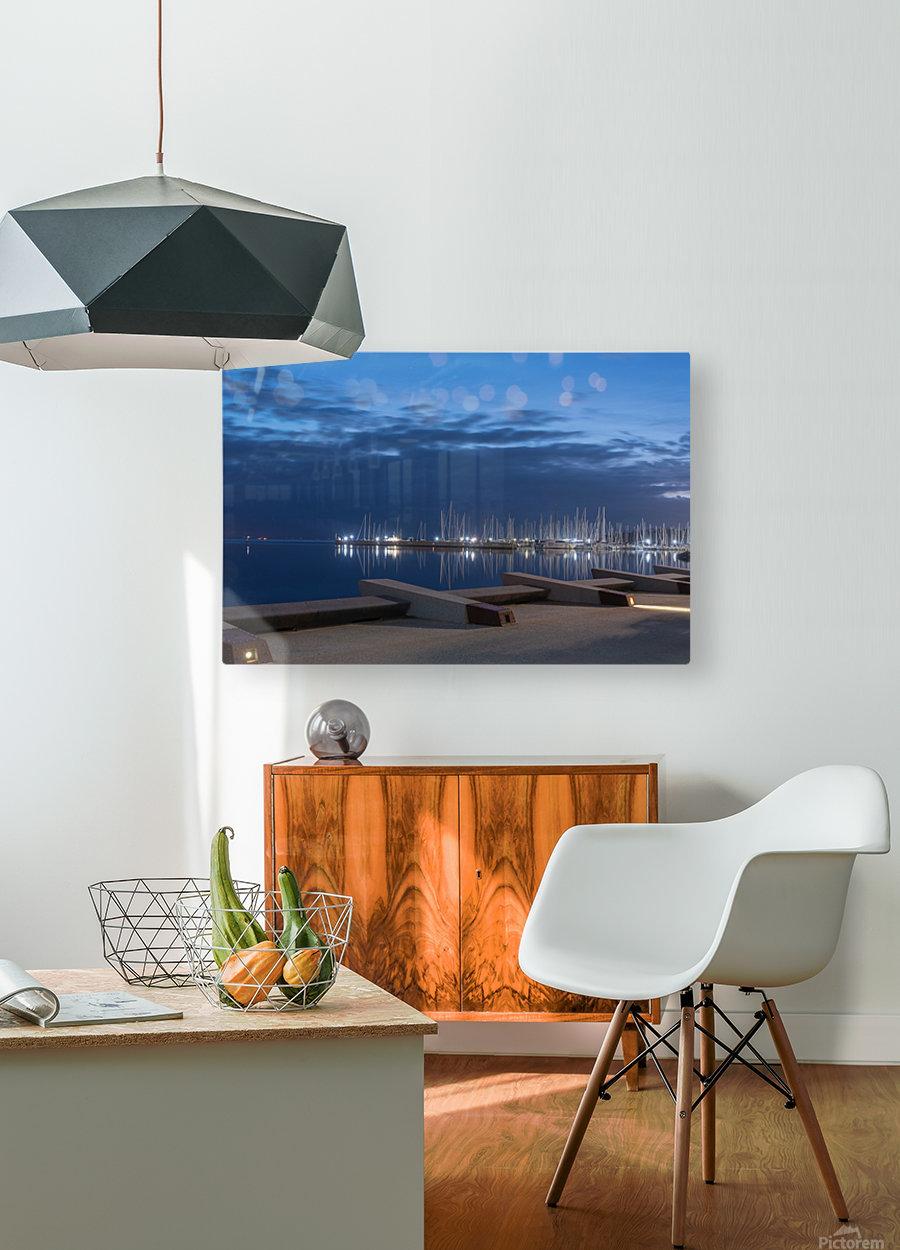 Blue Pre Dawn Marina  HD Metal print with Floating Frame on Back