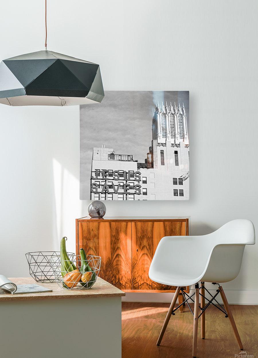 B&W Jesus Saves Building - DTLA  HD Metal print with Floating Frame on Back