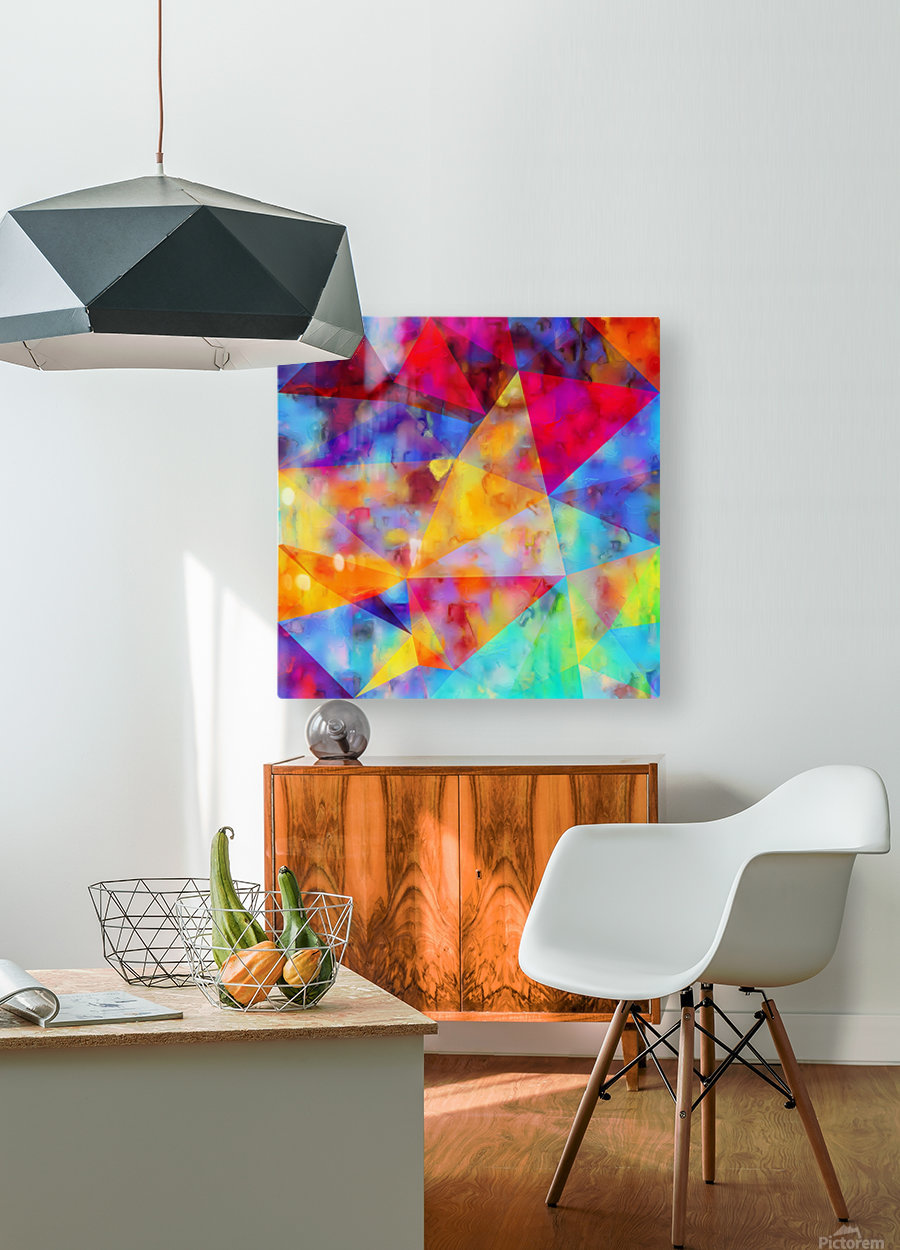 vintage psychedelic triangle polygon pattern abstract in orange yellow red blue purple  HD Metal print with Floating Frame on Back