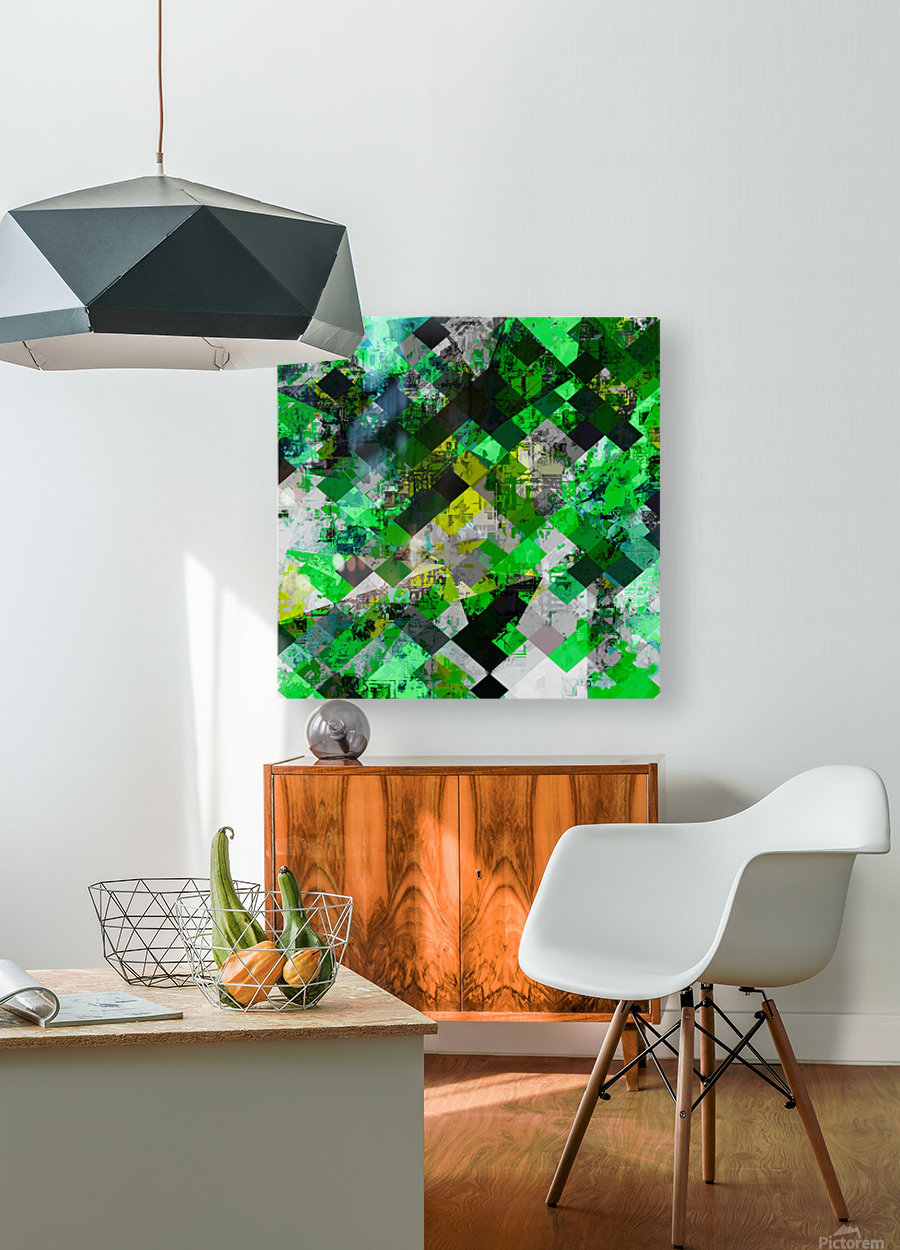 vintage psychedelic geometric square pixel pattern abstract in green and yellow  HD Metal print with Floating Frame on Back