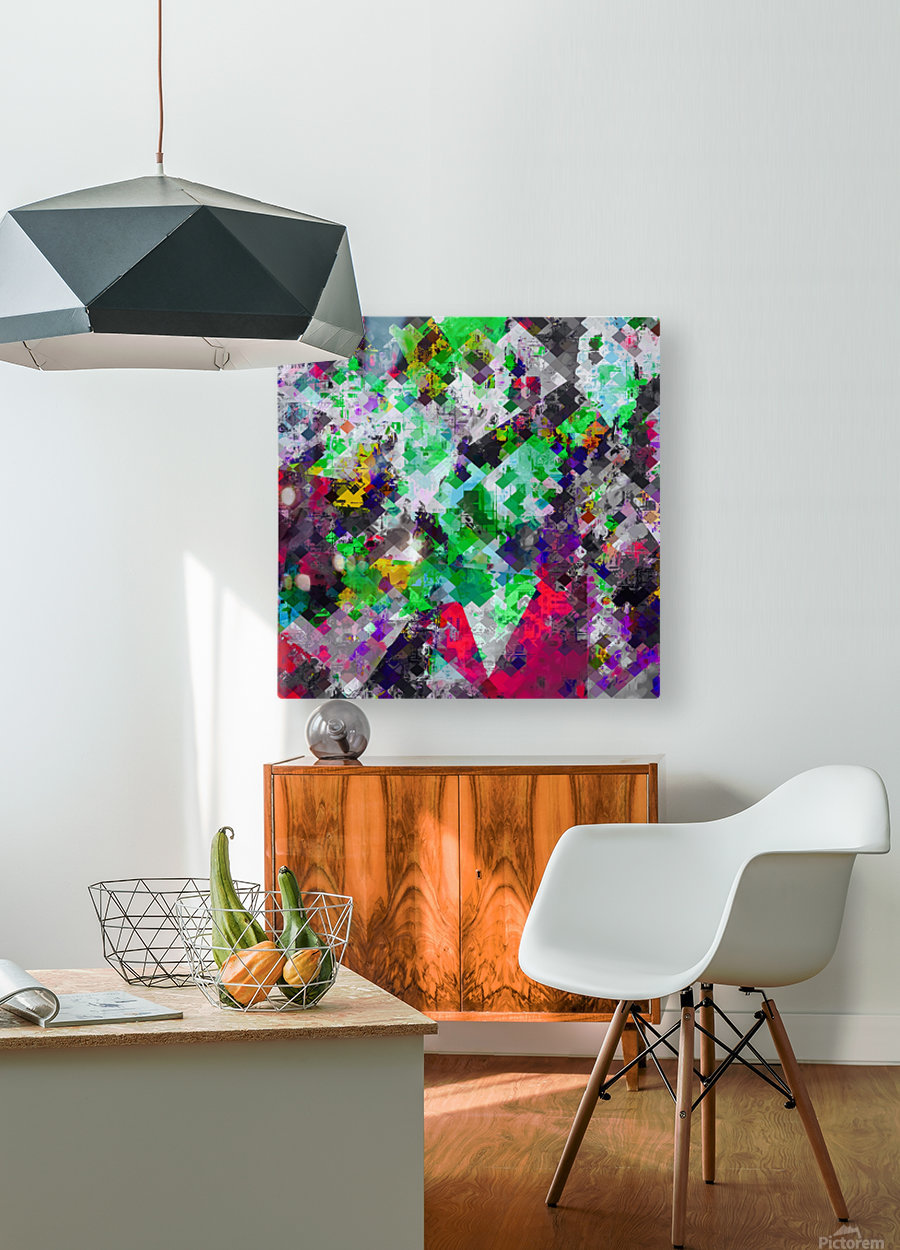 vintage psychedelic geometric square pixel pattern abstract in green red purple yellow  HD Metal print with Floating Frame on Back