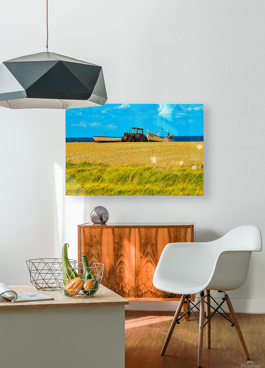 Beach Tractor  HD Metal print with Floating Frame on Back
