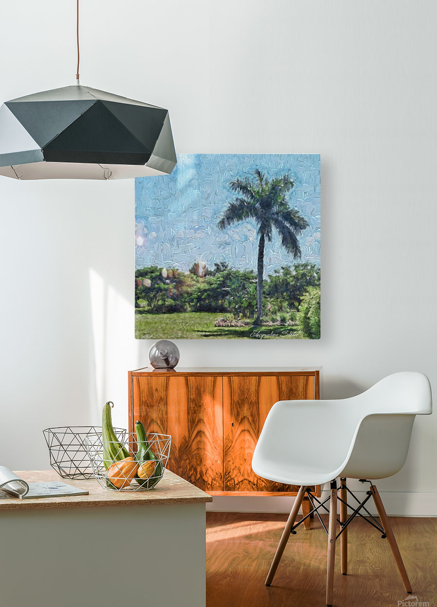 A Monet style Palm  HD Metal print with Floating Frame on Back