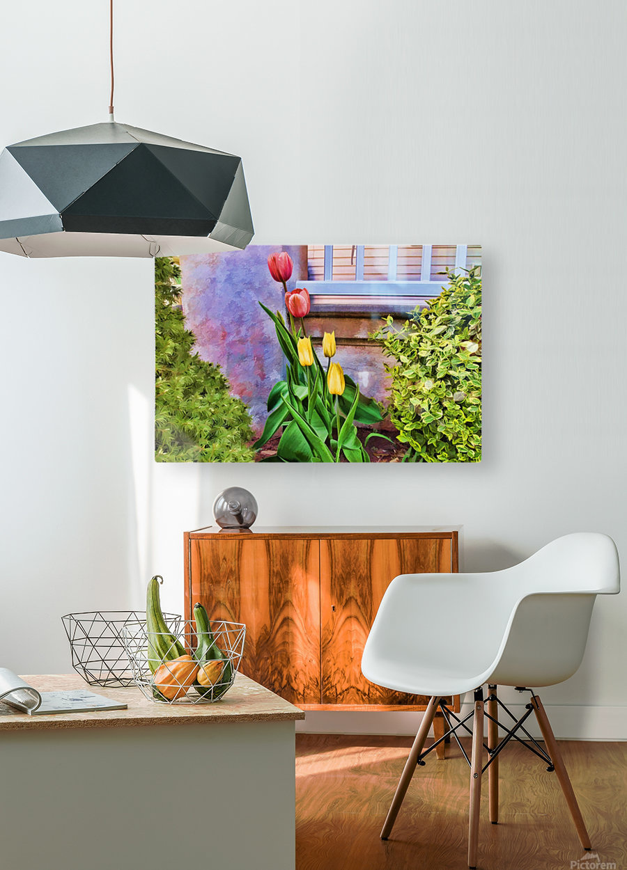 Painted Tulips  HD Metal print with Floating Frame on Back
