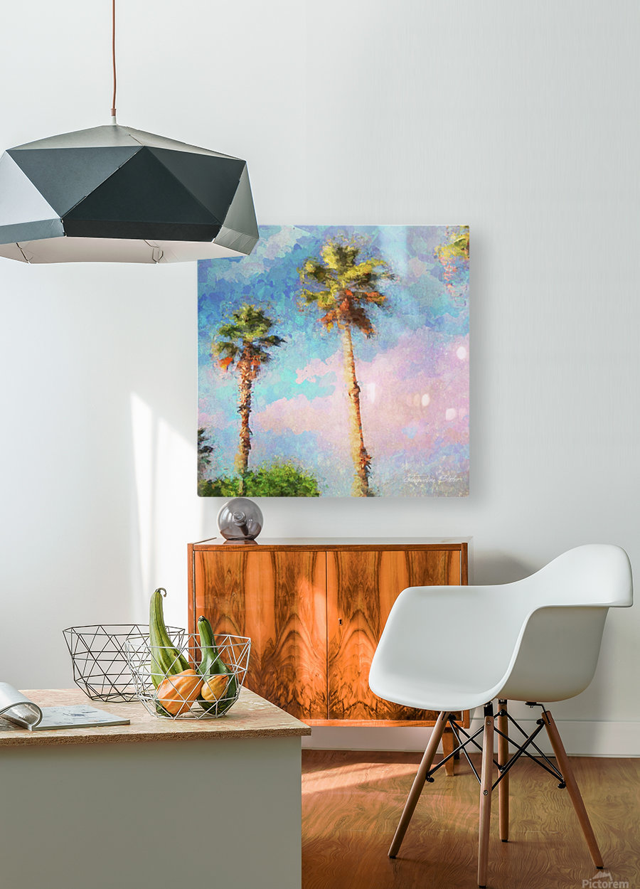 Painted Palms  HD Metal print with Floating Frame on Back