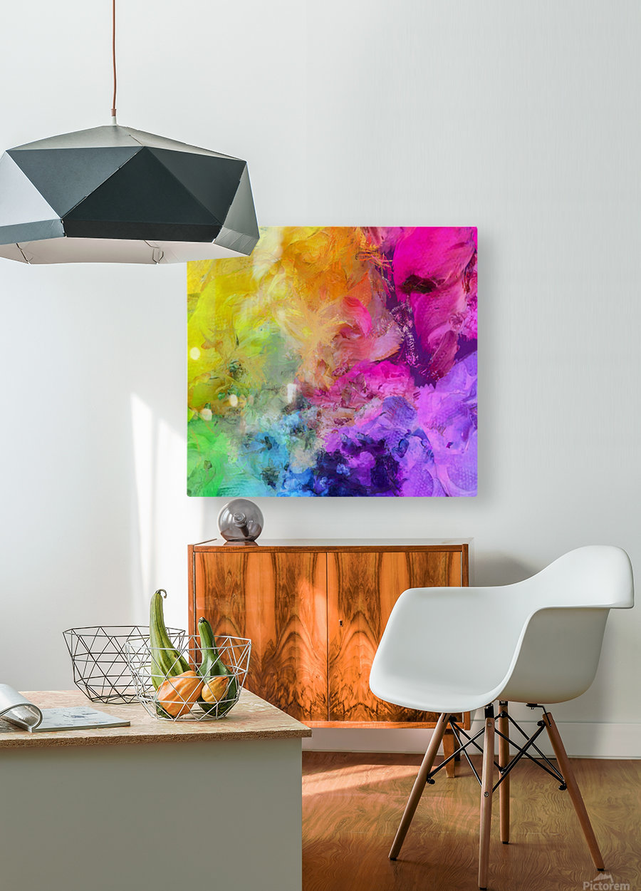 Bright Colorful Abstract Painting  HD Metal print with Floating Frame on Back