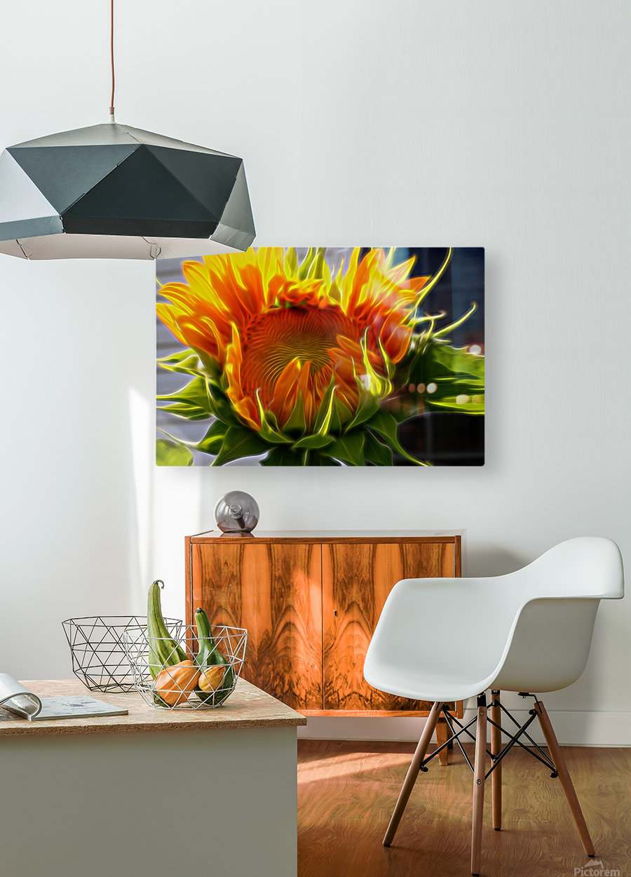 Glowing Sun  HD Metal print with Floating Frame on Back