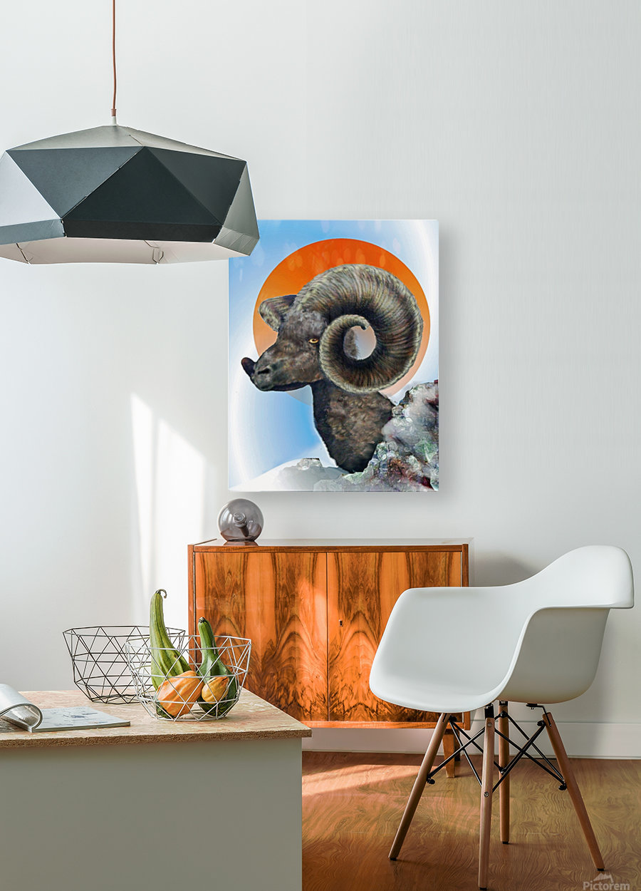 Ram  HD Metal print with Floating Frame on Back
