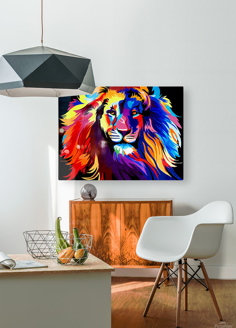 Lion Rainbow  HD Metal print with Floating Frame on Back