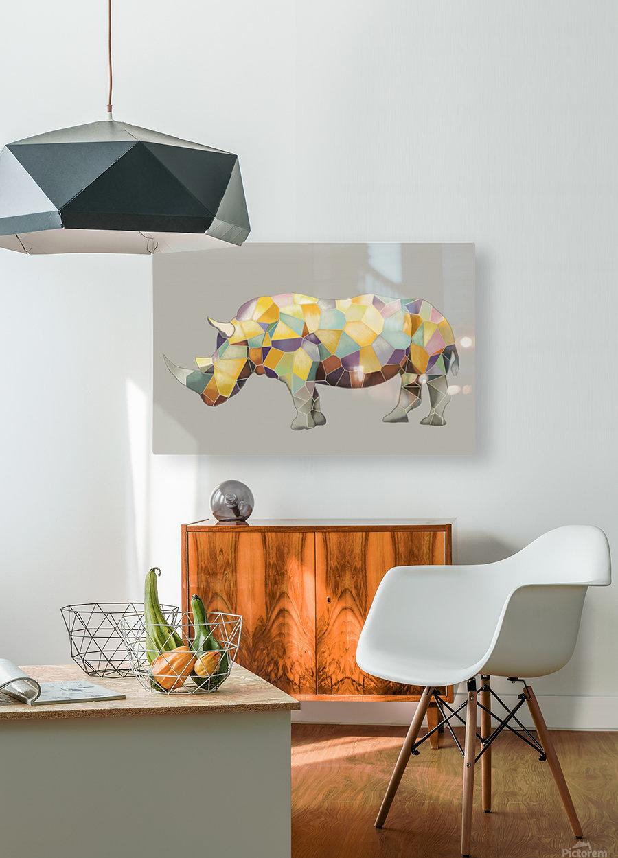 Rhino Mosaic  HD Metal print with Floating Frame on Back