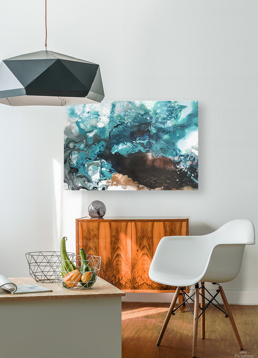 Ocean Glass  HD Metal print with Floating Frame on Back