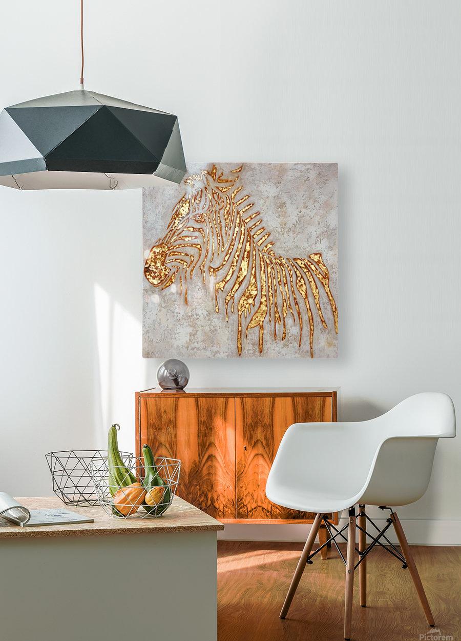Gold Zebra  HD Metal print with Floating Frame on Back