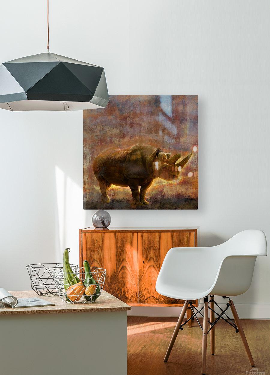 rhino  HD Metal print with Floating Frame on Back