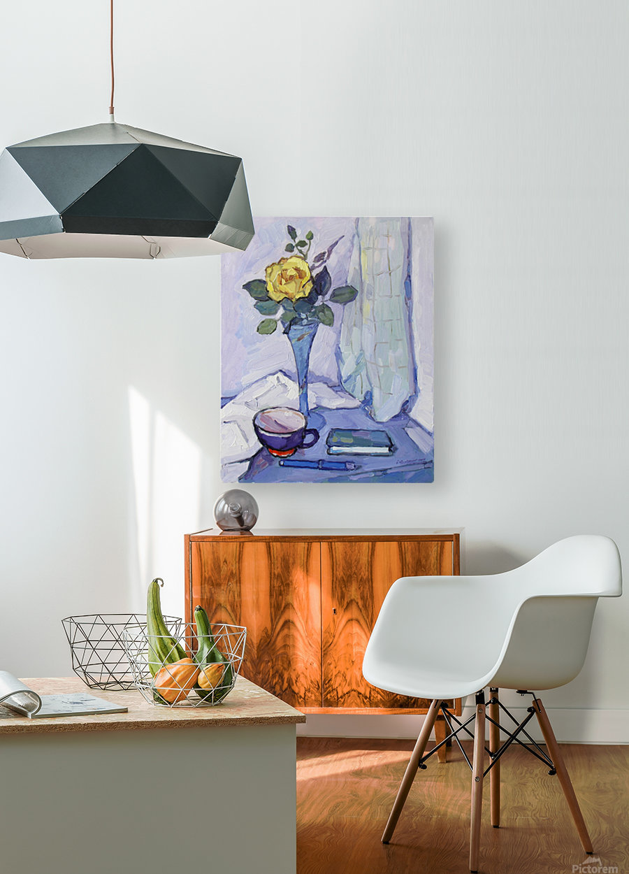 Still Life with Yellow Rose  HD Metal print with Floating Frame on Back
