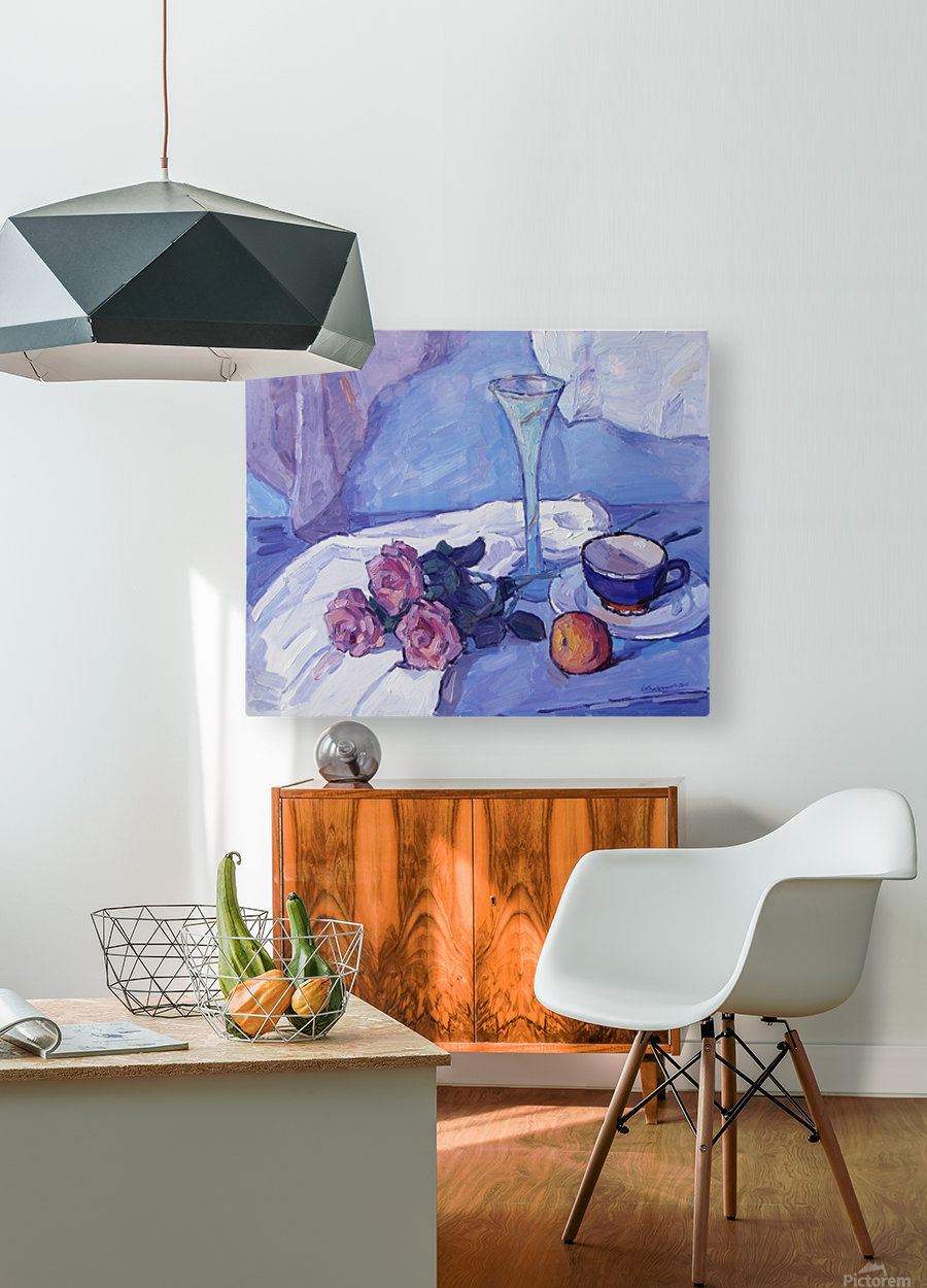 Still Life with Purple Roses  HD Metal print with Floating Frame on Back