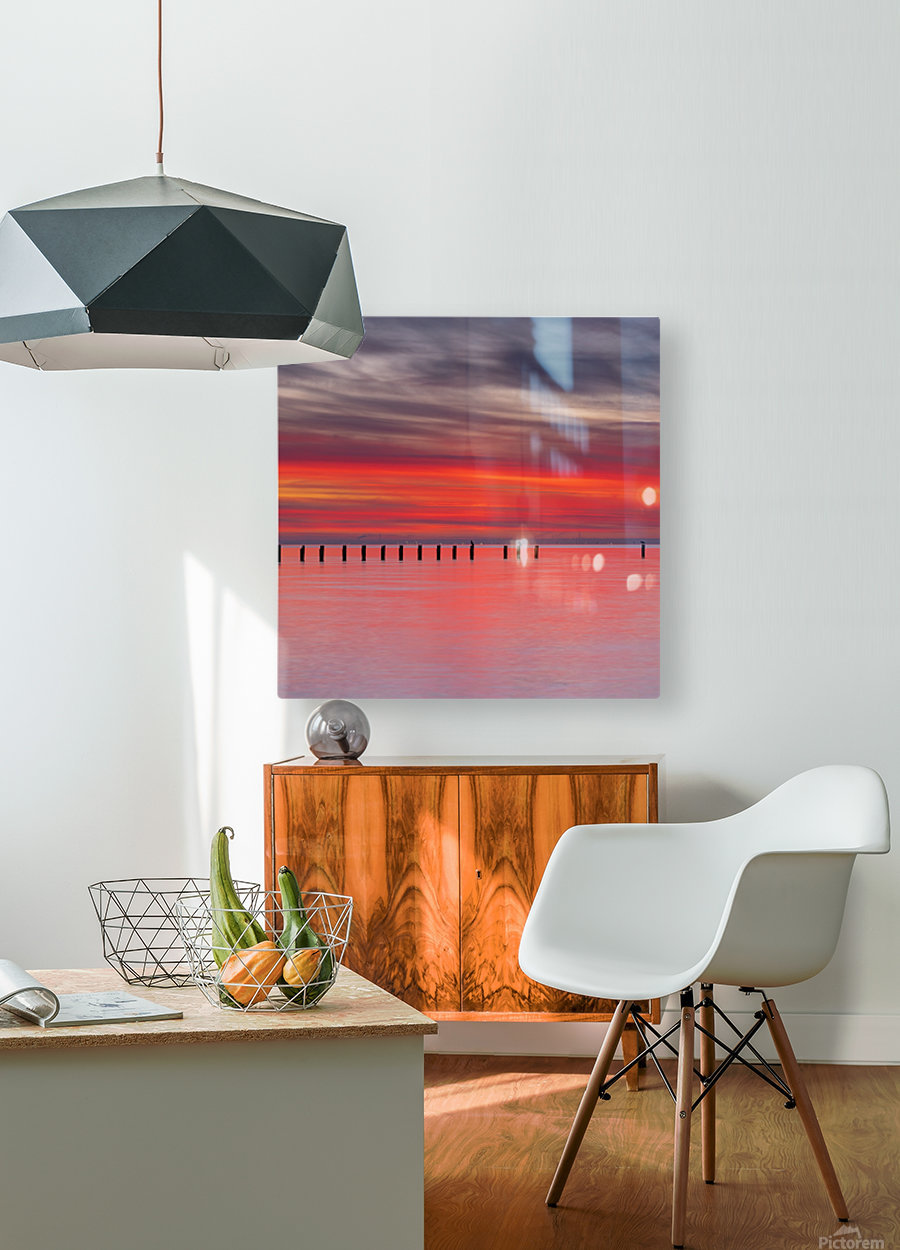 Pink Sunset over Water  HD Metal print with Floating Frame on Back
