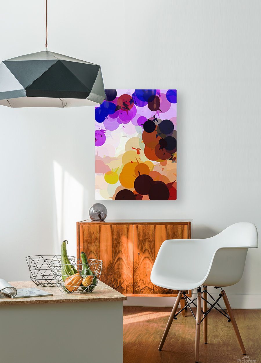 geometric circle and triangle pattern abstract in purple brown blue  HD Metal print with Floating Frame on Back