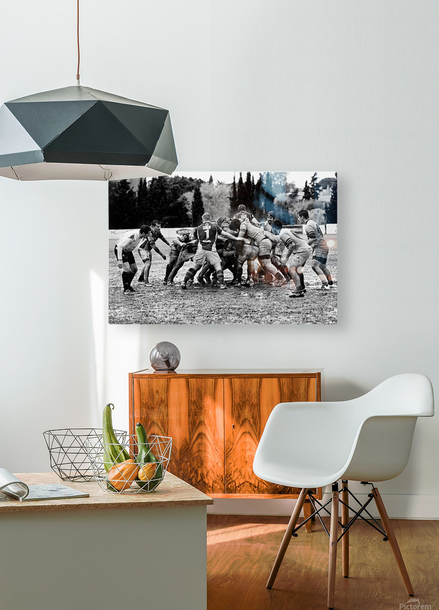 Rugby Mêlée  HD Metal print with Floating Frame on Back