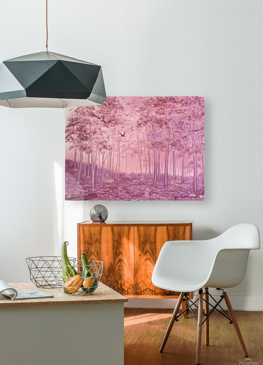 Pink Woods  HD Metal print with Floating Frame on Back