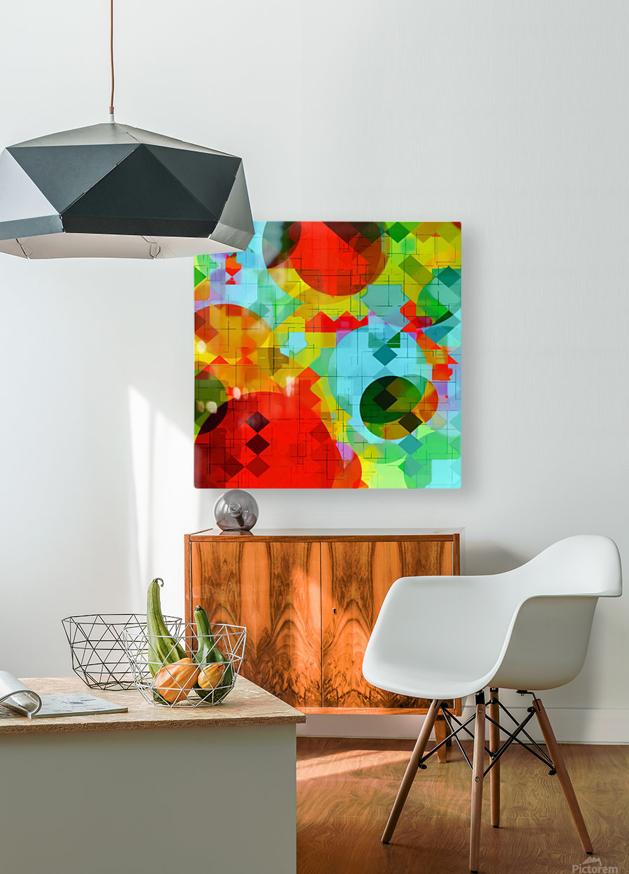 geometric square pixel and circle pattern abstract in red blue yellow  HD Metal print with Floating Frame on Back