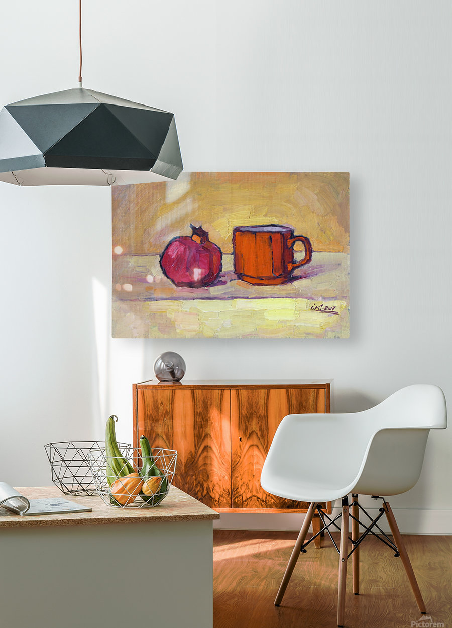Pomegranate and Red Cup  HD Metal print with Floating Frame on Back