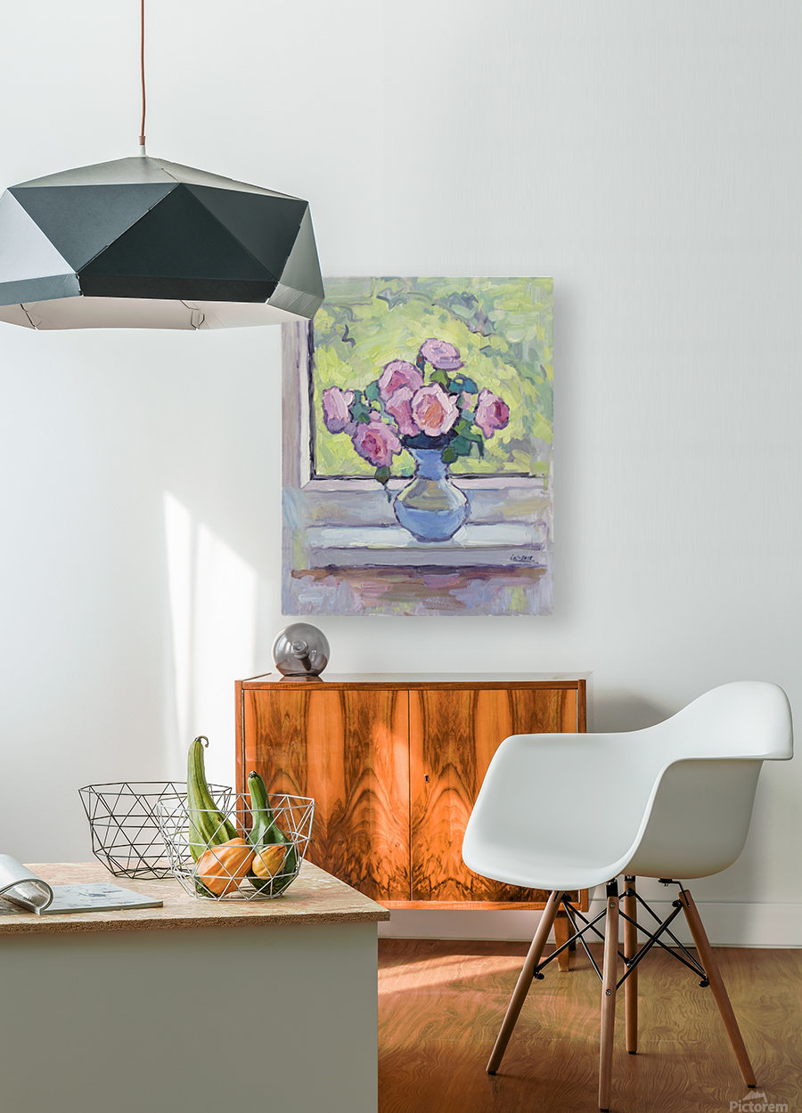 Tea Roses Bouquet on the Windowsill  HD Metal print with Floating Frame on Back
