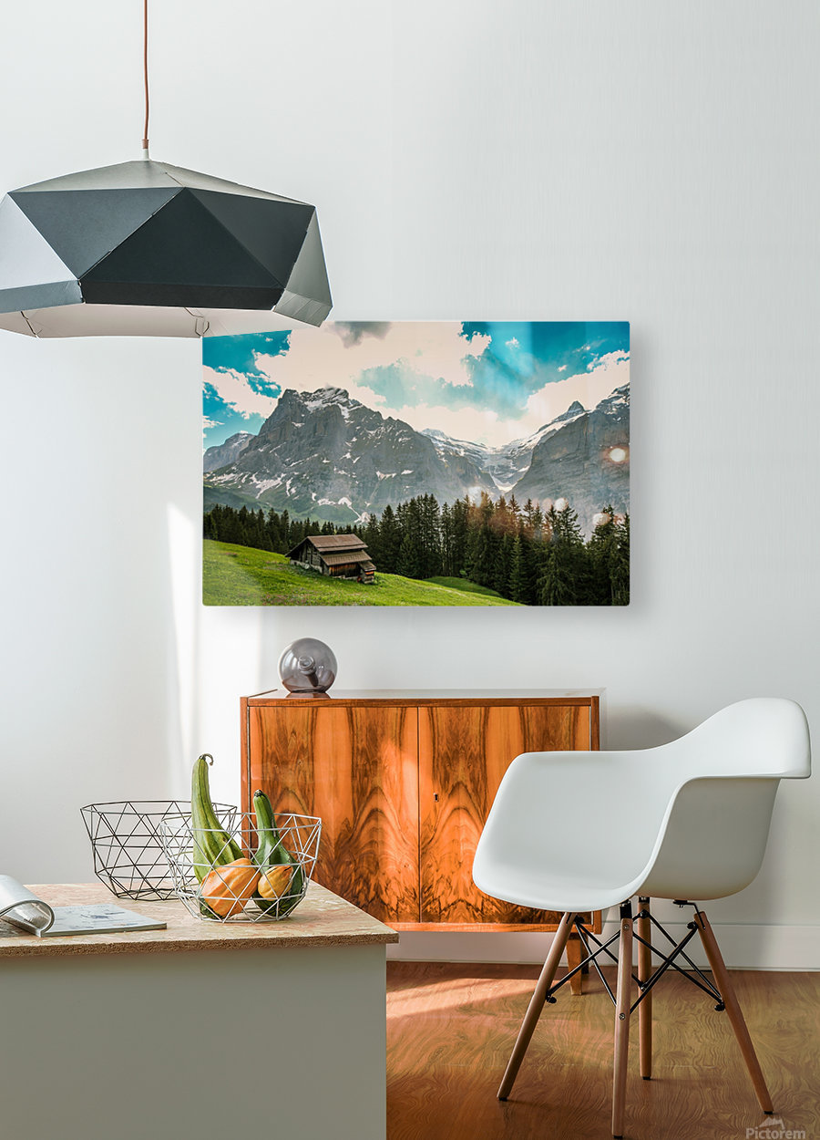 Hut on a hill  HD Metal print with Floating Frame on Back
