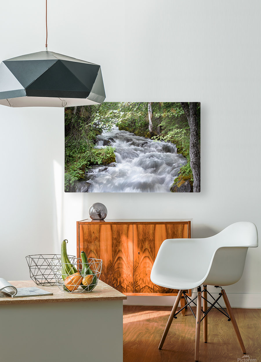 Beautiful Waterfall Photos - Alaska  HD Metal print with Floating Frame on Back