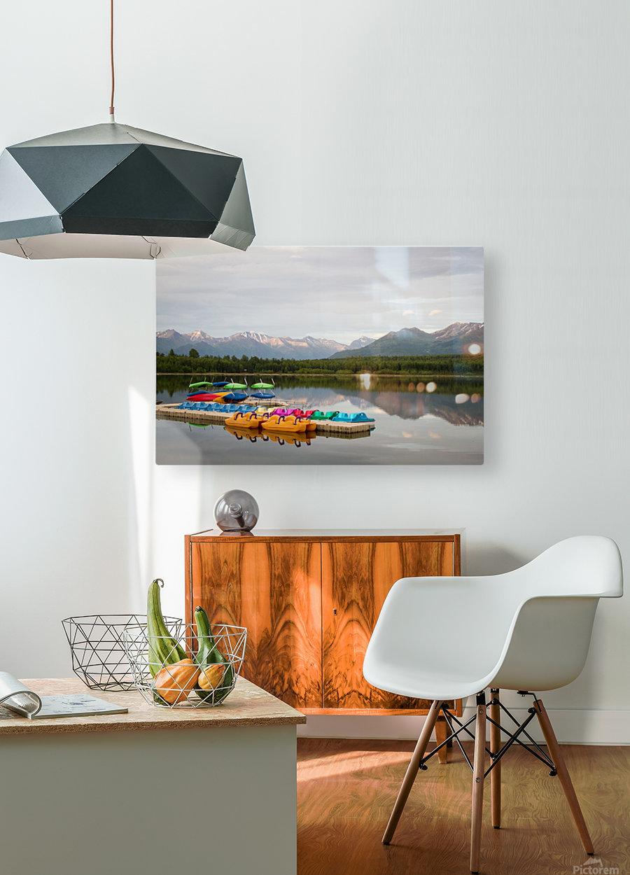 Alaska Lake and Sporting  HD Metal print with Floating Frame on Back