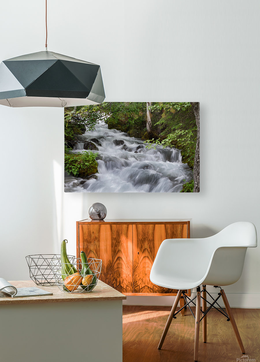 Beautiful Waterfall Photograph  HD Metal print with Floating Frame on Back